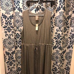 Shiny Silver Sleeveless Dolan Dress w drawstring